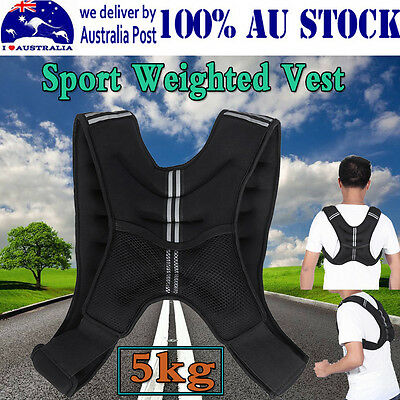AU Flexible Latest Weighted Vest 5kg Gym Weight Loss Training Running Jacket -MQ
