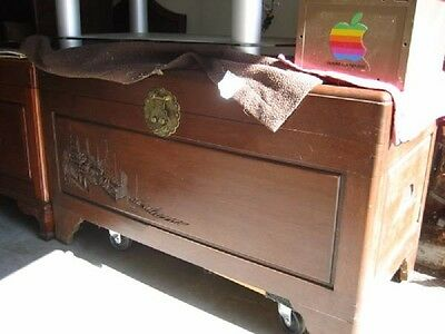 1930's Carved Chinese Rosewood/Hardwood Carved Trunk Cedar Lined