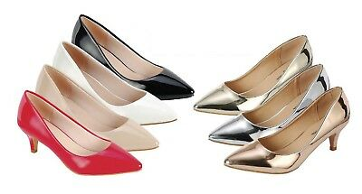 9cfa2ab2a8 Womens Patent Pointy Closed Toe Kitten Low Heel Classic Slip On Pump Slide  Shoes