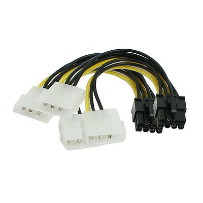 2 Pcs ATX Dual 4 Pin Male to 8 Pin Female Power Adapter Cable