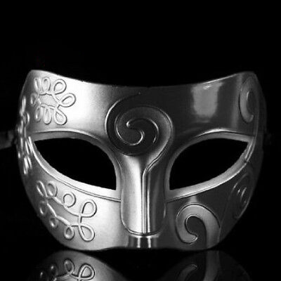 Mens Adult Masquerade Greek Roman Facial Mask for Fancy Dress Masked Ball Silver