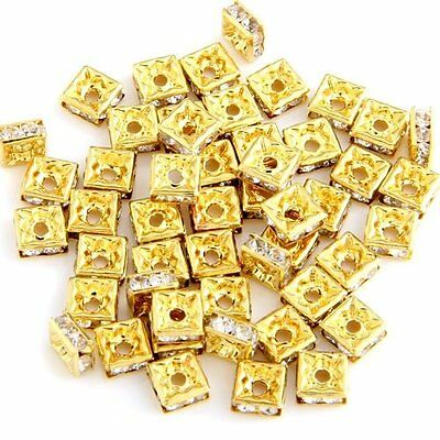 50 Gold Square Rhinestone Roundel Bead Jewelry Spacer HOT