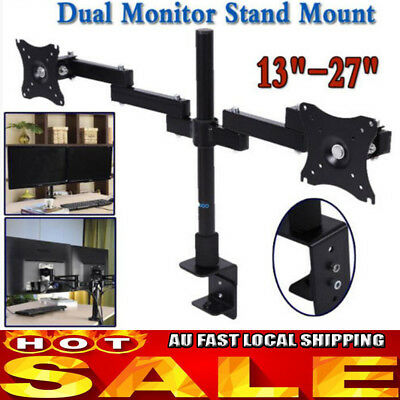 "Dual Monitor Arm Desk Mount Computer Screen Swivel TV Bracket Stand 13-27"" New"