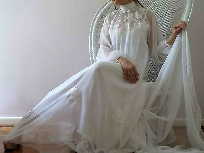 70s Boho White Sheer Lace Wedding Dress with Train S-L Free Post for 3+items