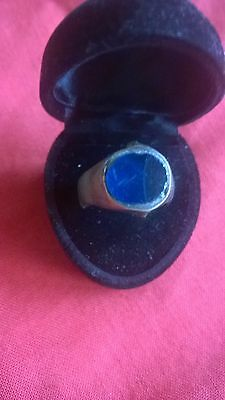 lovely Roman bronze ring with rare blue glass intaglio