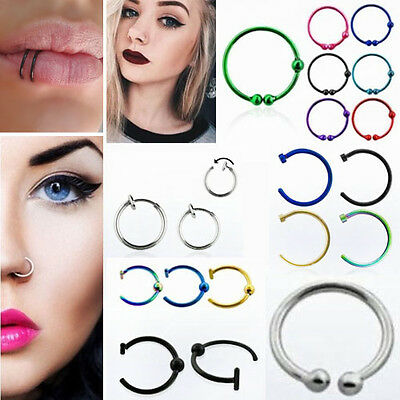 2PCS Stainless Steel Nose Rings Piercing  Lip Nose Hoop Ring False Fake Clip On