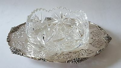 Vienna Austrian Solid Silver 800 Purity Round Tray & Crystal Bowl Circa 1920s