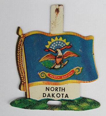 1959 Tin Litho Nabisco Shredded Wheat State Flag for North Dakota