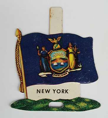 1959 Tin Litho Nabisco Shredded Wheat State Flag for New York