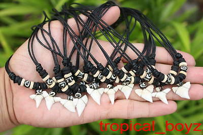 10 Shark Tooth Necklaces Sharks Teeth with ROUND Spiral Bone Beads Wholesale *