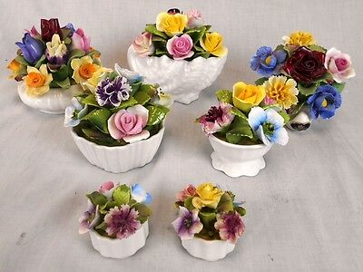 Lot of 7 Lovely Porcelain Bone China Bouquets by Aynsley and Coalport