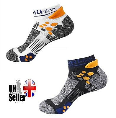 Pair Mens Caxa COOLMAX Running Trainer Cycling Gym Socks White Black Size 6-10
