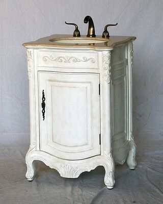 """24"""" Antique White Single Sink Vanity with Ivory Beige Cream Marble Top"""