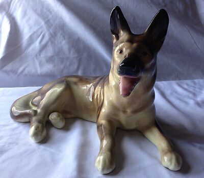 Vintage LG German Shepherd Porcelain Figurine Germany Made Mid Century Beauty