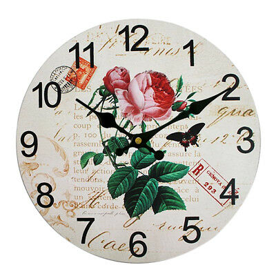 Wall Clock Wooden Rustic Retro Shabby Chic Home Kitchen Decor Art Gifts #20