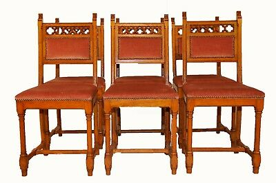 6 Dining Chairs, Vintage Gothic, 1920's, Clean Simple Lines, Upholstered Seats