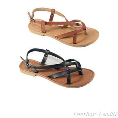 8f64ef3f09ad New Girls Kids Strappy Gladiator Thong Flops T Strap Flip Flat Sandals size  9-4