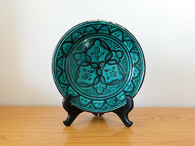 c.19th - Antique Persian Islamic Glazed Ceramic Pottery Plate