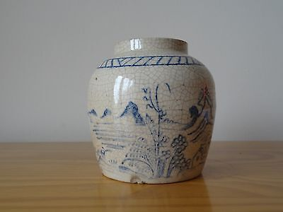 c.17th - Antique Chinese China Blue and White Stoneware Ming Ginger Pot Jar