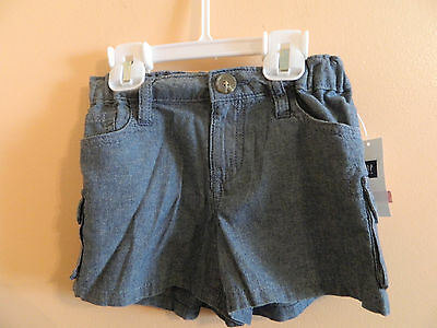 NWT Gap Kids girls chambray cargo shorts, adjustable, washed color size 10