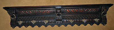 Antique Victorian Carved Wood Wall Shelf Coat Kitchen Rack with Lion Heads