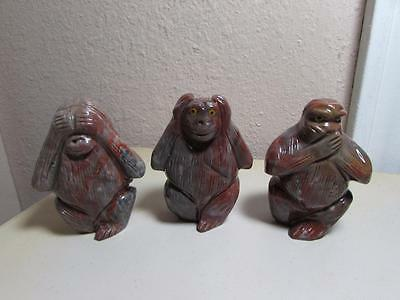 """Monkeys, """"See, Hear & Speak No Evil"""", Set of 3 Hand carved marble from the Andes"""