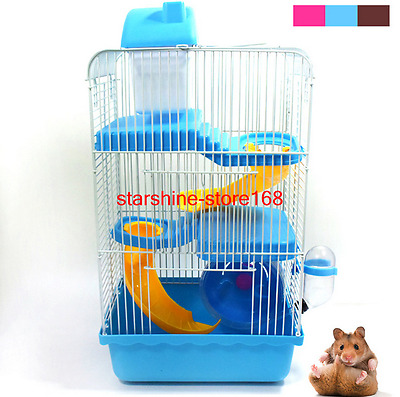New 3 Storey Gorgeous Hamster Mouse Cage Small Castle Roller Slide Hamster House