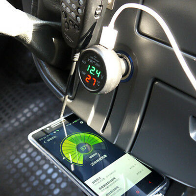 Multifunctional Car Vehicle Voltmeter Thermomenter USB Cigarette Lighter Charger