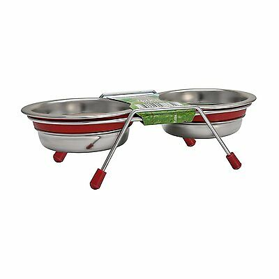 Loving Pets Silent Double Diner Bowl Set for Cats & Puppies Red 2 x 0.28 Litre