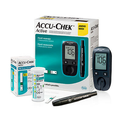 Blood Glucose Meter Glucometer Accu-Chek Active Kit New + 100 Test Strips