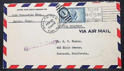 US Special Delivery Airmail Cover Dallas Texas Centennial 16c Lupo Brief (Y-588