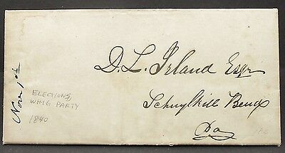 US Presidential Election Whig Party 1840 Politician Letter USA Brief (I-8504
