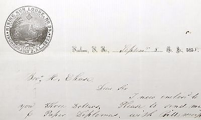 Rising Sun Lodge 1858 Illustrated Letter  (I-1738
