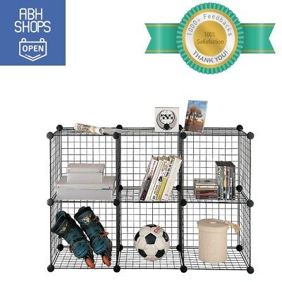 Storage Standing Kids Room Floor 6 Cube Shelves Wire Organizer Garage Toys Unit