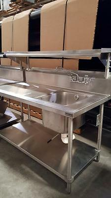 Stainless Steel 5' Wash/Prep Station w/ Sink & Shelves