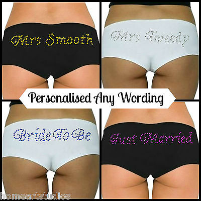 Personalised Boy Shorts Knickers Diamante Novelty Wedding Bride To Be Boxers