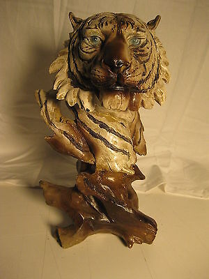 """11"""" Collectible FAUX WOOD WHITE TIGER Decoration Figurine Statue polyresin"""