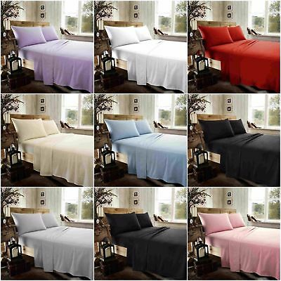 Plain Flannel 100% Brushed Cotton Fitted and Flat Sheet Sets With Pillow Cases
