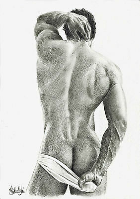 NUDE MALE STUDY-GAY INTEREST- A4 PRINT of the original pencil drawing