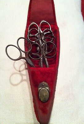 6 Antique Sewing Scissors + Red Velvet Victorian Case Marks Steel Silver Rogers