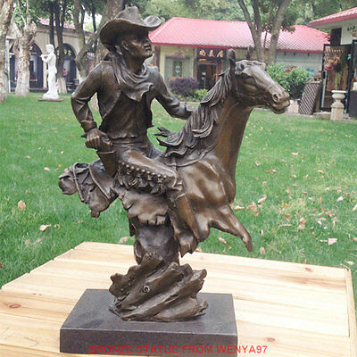 Art Deco Sculpture The Western Cowboys Bronze Statue