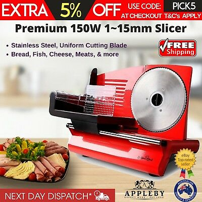 1-15mm Cut Electric Meat Slicer Food Ham Deli Stainless Steel Blade Machine New