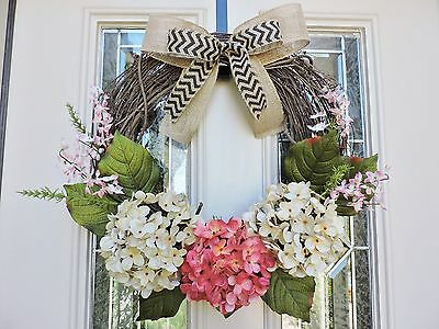 Front Door Wreath with Double Bow, Hydrangea Floral Wreath, Grapevine Spring Wre