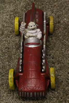 Vintage 1934 Michelin Man Driving Cast Iron Original Hand Painted RaceCar Hubley