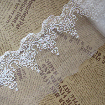 2 yd Cotton Tulle Lace Edge Trim Ribbon Appliques Embroidered Handicrafts Sewing