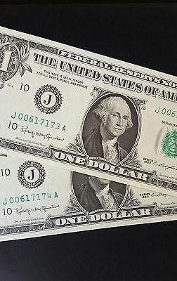 1963 $1 United States Banknote - (Consecutive Pair)  Unc.....