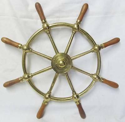 Antique Rosebank Ironworks Edinburgh Brass & timber Ships Wheel - Brown Bros .