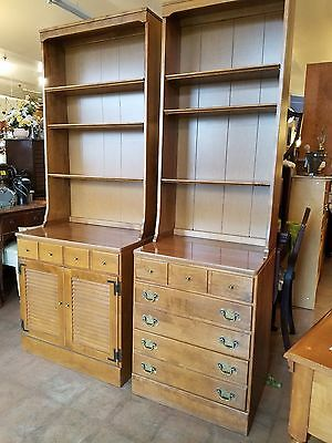 Pair Ethan Allen heirloom maple bookcases/china display credenza cabinet hutch