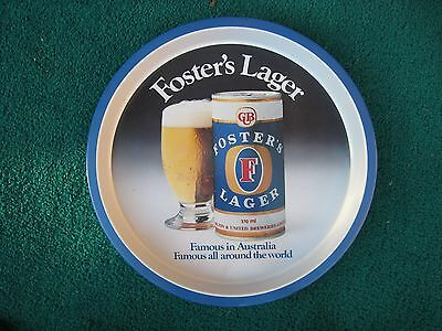 Foster's Beer Tray  Vintage Retro Willow Metal Drinks Serving Tray Man Cave Used