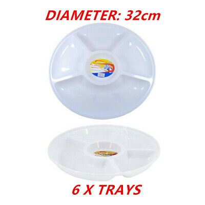 6 x WHITE PLASTIC 5 SECTION DIP SERVING PLATTER CATERING TRAY 32cm PARTY EVENT D